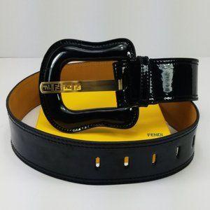 Fendi New Black Patent Leather B-Buckle Belt